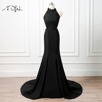 ADLN Sexy Halter Backless Evening Dresses Black Satin Lace Mermaid Prom Gown Party Wear For Formal