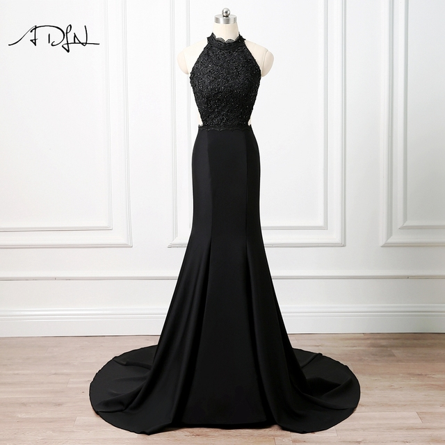 ADLN Sexy Halter Backless Evening Dresses Black Satin Lace Mermaid Prom  Gown Party Wear for Formal Occasion Robe de Soiree 5fc9bd02d9f7