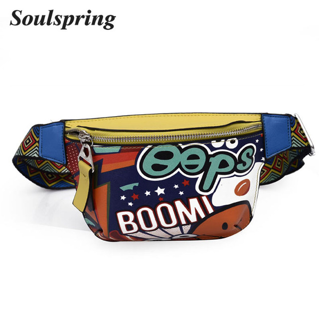 SOULSPRING Fanny Pack Waist Bag Women Personality Belt Bags Pu Leather Graffiti Chest Handbag With Colorful Shoulder Belt 2018