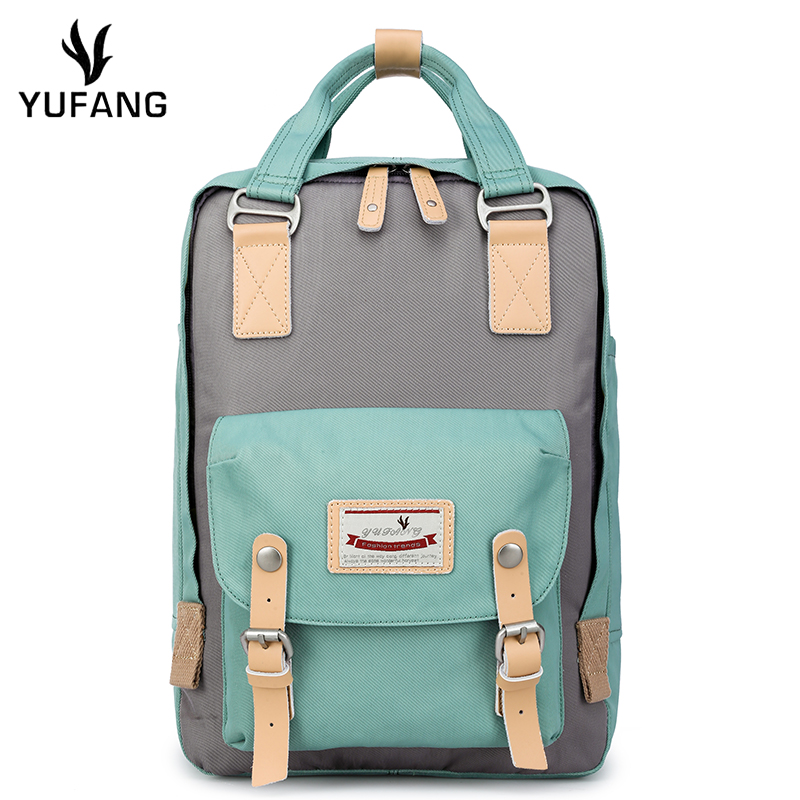 Yufang Women Laptop Backpack Waterproof Oxford Female Shoulder Bag Candy Ladies School Bag Multifunction Women Bagpack Mochila