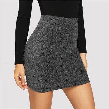 80s Look Metallic Bodycon Mini Skirt