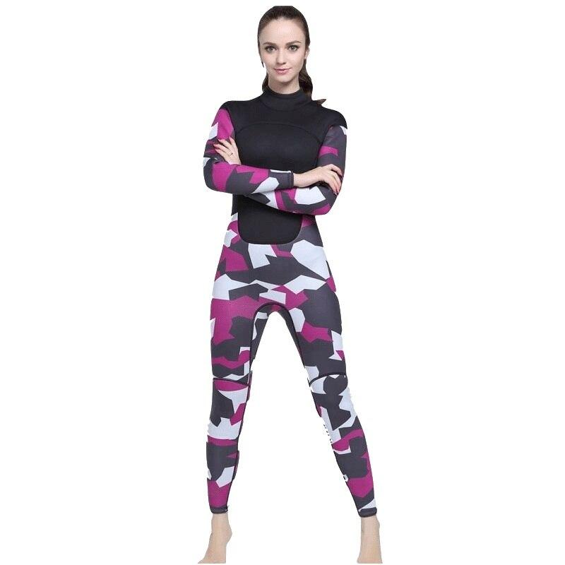 307b627025b69 2018 Plus Size Women Wetsuit One piece 3mm Neoprene Swimsuit Dive Surf Swim  Suit Swimwear Camouflage Spearfishing Triathlon