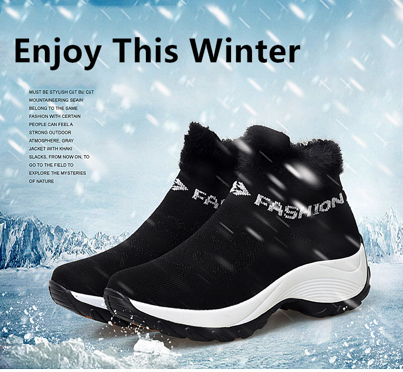 STS BRAND 2019 New Winter Ankle Boots Women Snow Boots Warm Plush Platform Sneakers Breathable Mesh Sneakers Travel Casual Shoes (1)