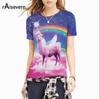 Raisevern Fashion 3D Print T Shirt Rainbow Llamacorn T Shirt Pink Cloud In Space Galaxy Llama