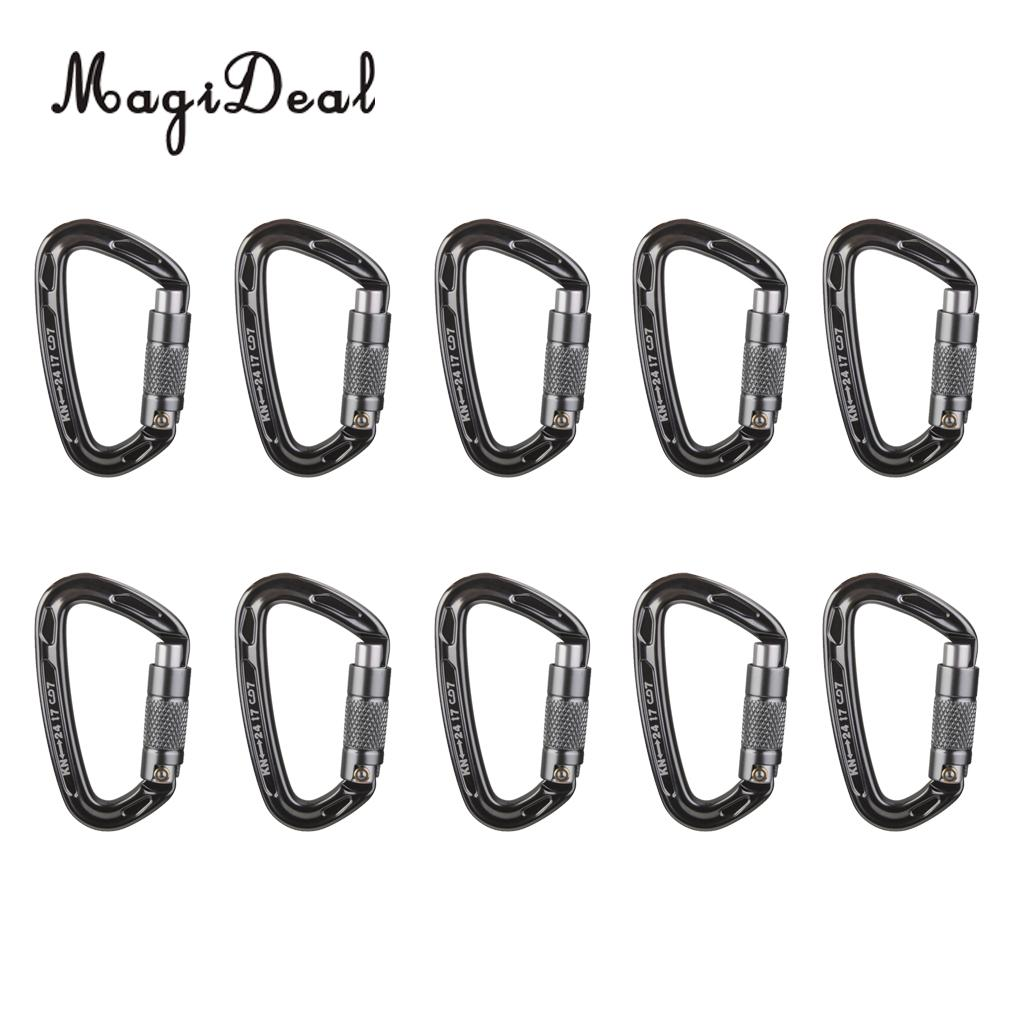MagiDeal 10 Pieces 24KN Aluminum Carabiner D Shape Self Locking for Climbing Gray