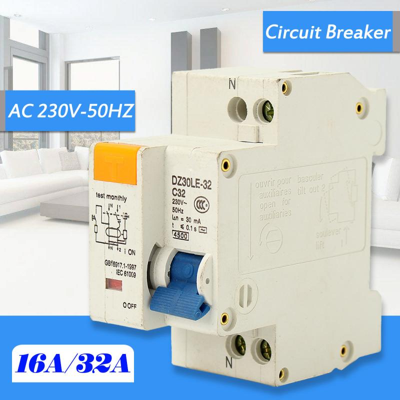 цена на Miniature Circuit Breaker AC230V 50Hz 2P 32A Rated Current 30mA Leakage Protection Manual Operation Switch