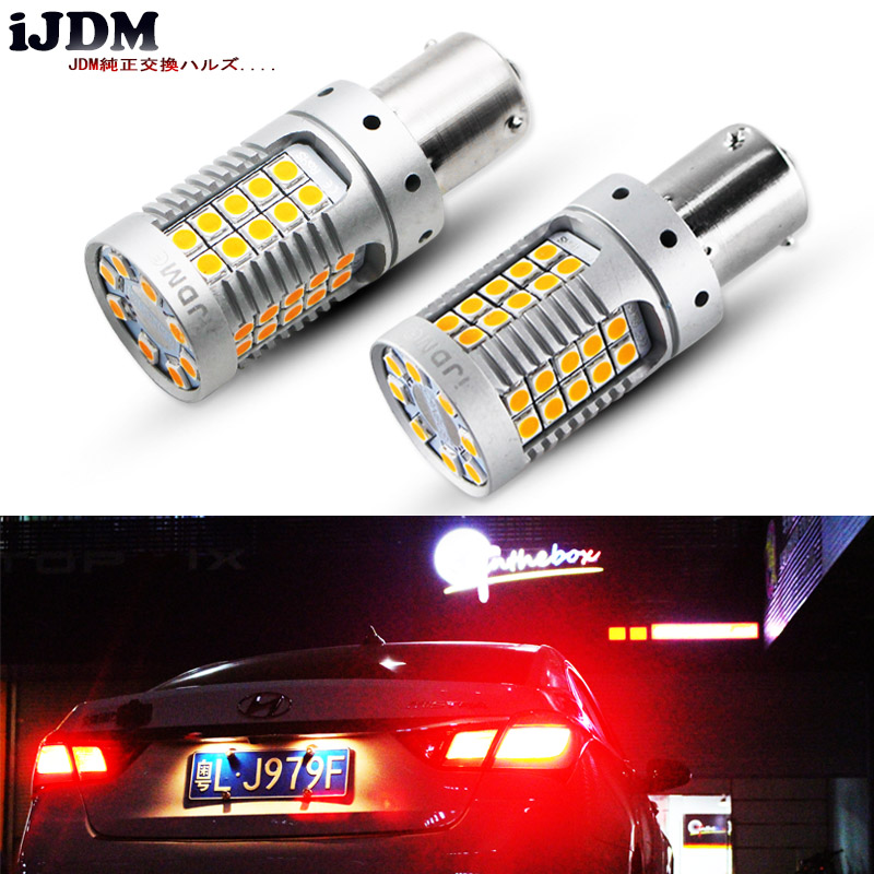 iJDM P21W LED Red Canbus OBC No Hyper Flash 1156 PY21W Bau15s LED For Front Rear Turn Signal Light , Tail Lights, Brake Lights