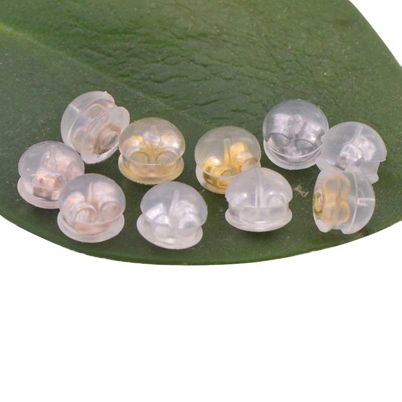 10pcs/lot 18K Gold Silicone Ear Plugs DIY Earrings Accessories Plugs Earplugs Ear Piercing Plug Caps Metal Jewelry Findings