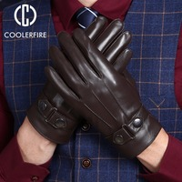 Men Gloves High Quality Real Leather Sheepskin Mittens Warm Winter Gloves For Men Outdoor Fashion Male