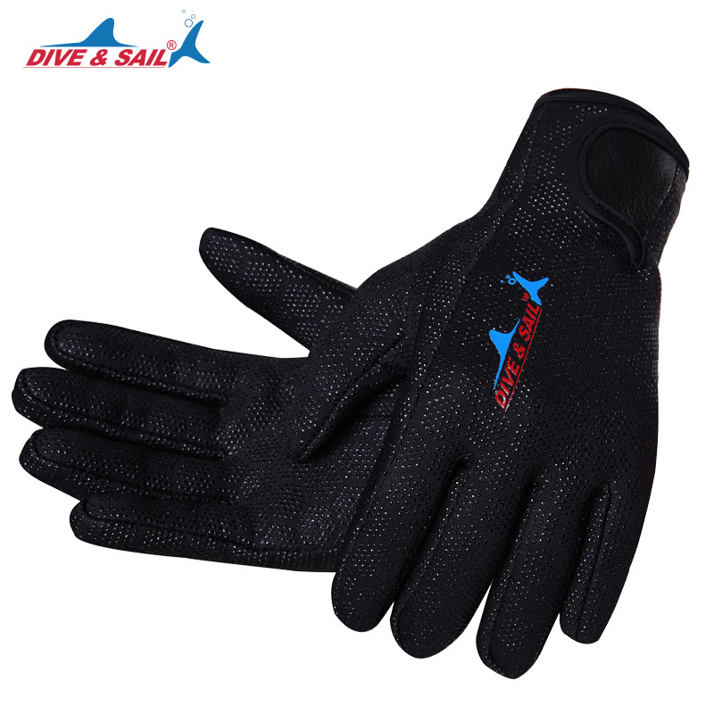 DIVE&SAIL 1.5mm Neoprene Anti-scratch Scuba Dive Swim Gloves With Nylon Tape For Winter Warm Swimming Diving Surfing Snorkeling