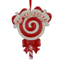 Lollipop Family Of 4 Resin Hang Christmas Ornaments With Glossy Baby Face As Craft Souvenir For