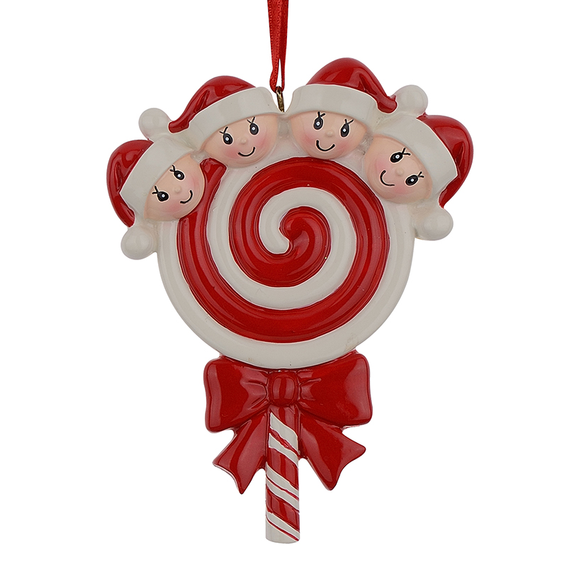 Lollipop Family of 4 Resin Hang Julprydnader Med Glatt Baby Face As Craft Souvenir