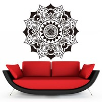 Vinyl Wall Decals Mandalas Indian Yoga Pattern Flowers Wall Sticker For Living Room Art Mural Home Decor Self Adhesive Wallpape