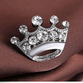 High Quality12PCS/LOT Silver Tone Small Crystal Crown Brooch Pretty Crystals Crown Collar Pins For Women