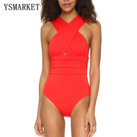 2018 Black Red Sexy Hollow Out Back Front Cross Neck Halter Women Swimwear One Piece Swimsuit