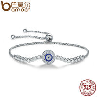 BAMOER Authentic 925 Sterling Silver Blue Eye Tennis Bracelet For Women Adjustable Chain Bracelet Sterling Silver