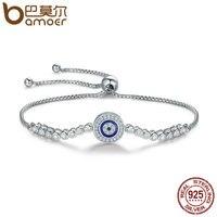 BAMOER Authentic 925 Sterling Silver Blue Eye Tennis Bracelet For Women Adjustable Chain Bracelet Sterling Silver