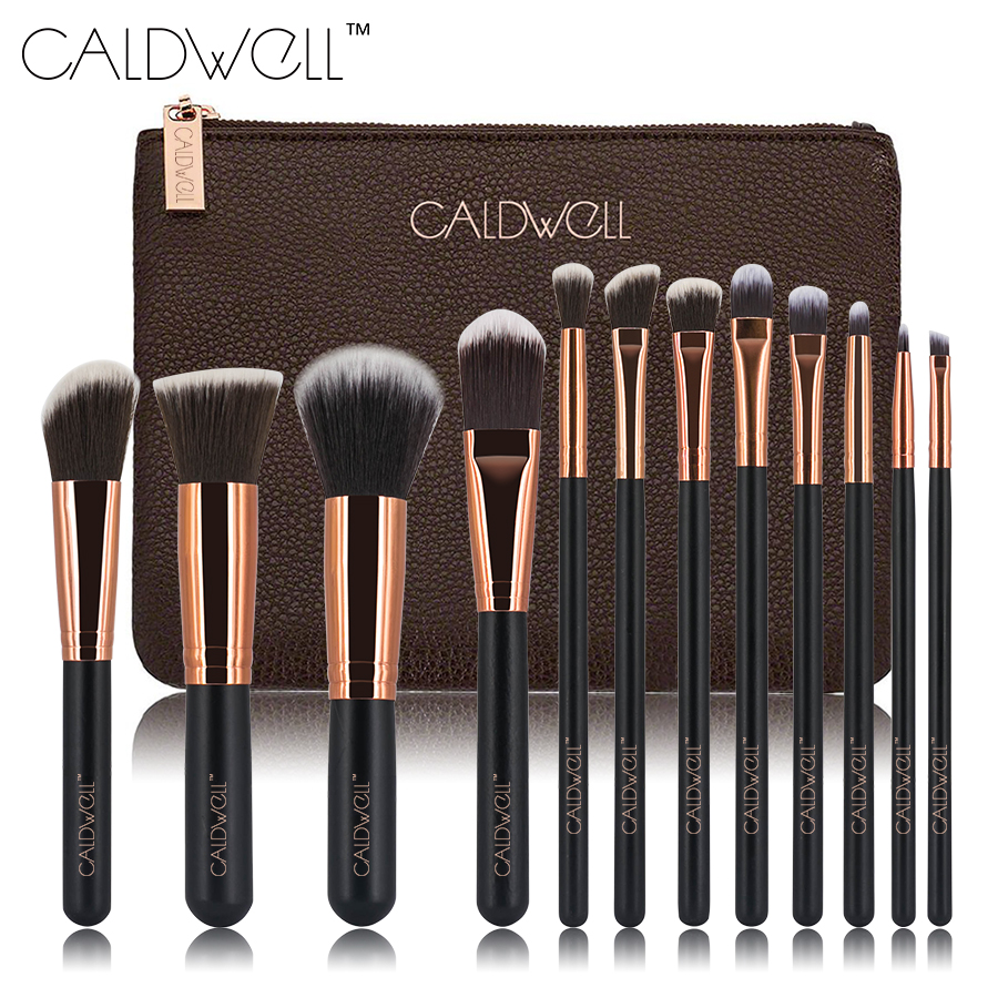 12pcs Makeup Brushes Set Powder Foundation Eye Shadow Make Up Brushes High Quality Synthetic Hair With PU Leather Case sinle 24pcs pro makeup brushes set powder foundation eye shadow make up brushes high quality synthetic hair with pu leather case