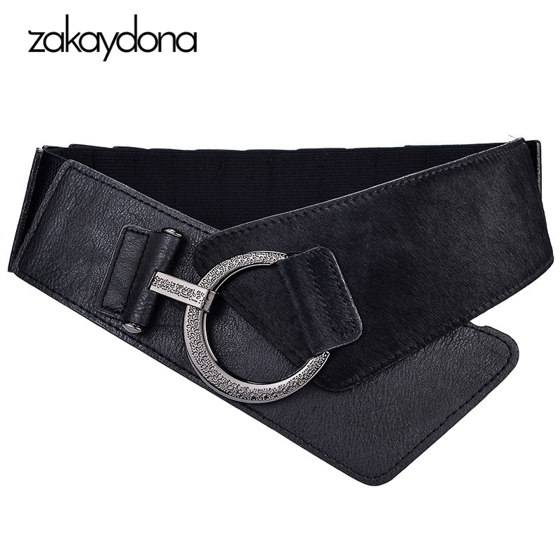 Zakaydona Fashion Style Black&Red Solid PU Faux Fur Ring Buckle Loose Comfortable Female Cummerbund Wide Belts For Women