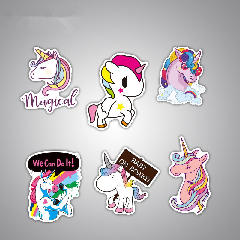 Image 2 - 7Pcs Multi Color Unicorn Car Sticker Waterproof Cartoon Horse For Computer Personalized Suitcase Notebook Car Stickers #B1312-in Car Stickers from Automobiles & Motorcycles