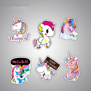 Image 2 - 7Pcs Multi Color Unicorn Car Sticker Waterproof Cartoon Horse For Computer Personalized Suitcase Notebook Car Stickers #B1312