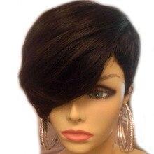 Sunnymay полностью кружевные человеческие парики Remy с челкой боб парик кружевной парик без клея с волосами младенца для женщин 130