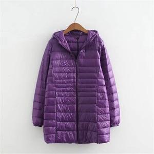 Image 3 - 새로운 가을 겨울 플러스 크기 6xl 다운 재킷 여성 울트라 라이트 화이트 오리 코트 파커 긴 슬림 후드 여성 outwear rh1340