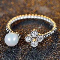 Platinum Plated White Wedding Women Fashion Jewelry Retro Romantic Engagement Ring Adjustable Size Freshwater Pearl Jewelry
