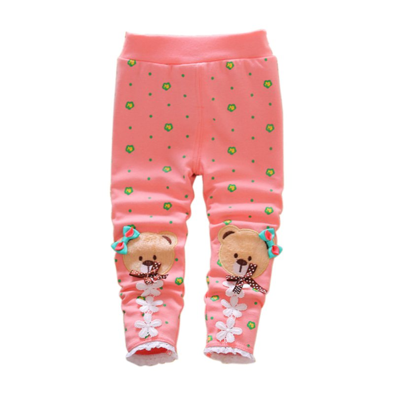 Toddler Baby Kids Girls Cotton Pants Bear Pattern Stretch Warm Casual Legging Trousers Spring for 7-24M Baby