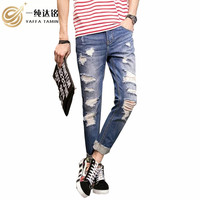Uomini Casual mutanda Dei Jeans Denim Dei Jeans del ragazzo Per gli uomini pant Hollow fuori 2017 Autunno Inverno Denim Pantaloni Allentati Pantaloni Lunghi 18-35 anni vecchio