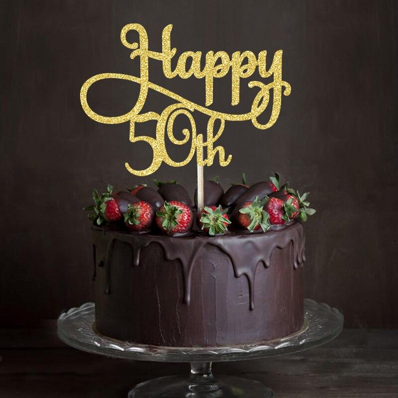 Outstanding Goud Zilver Zwart Glitter Gelukkig 50Th Cake Topper Vijftigste Funny Birthday Cards Online Drosicarndamsfinfo
