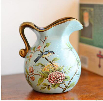 Vintage Style French Country Water Pitcher Ceramic Flower Vase