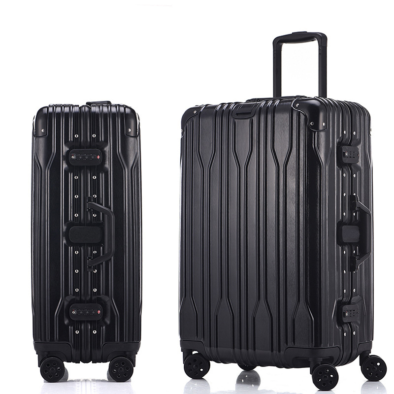 Letrend Aluminium Frame Spinner Rolling Luggage Suitcases Wheels Password Trolley 20 inch Women Men Carry On Travel Bag Trunk letrend 3d colorful rolling luggage spinner women rose gold suitcases wheels cabin trolley travel bag 20 24 inch carry on trunk