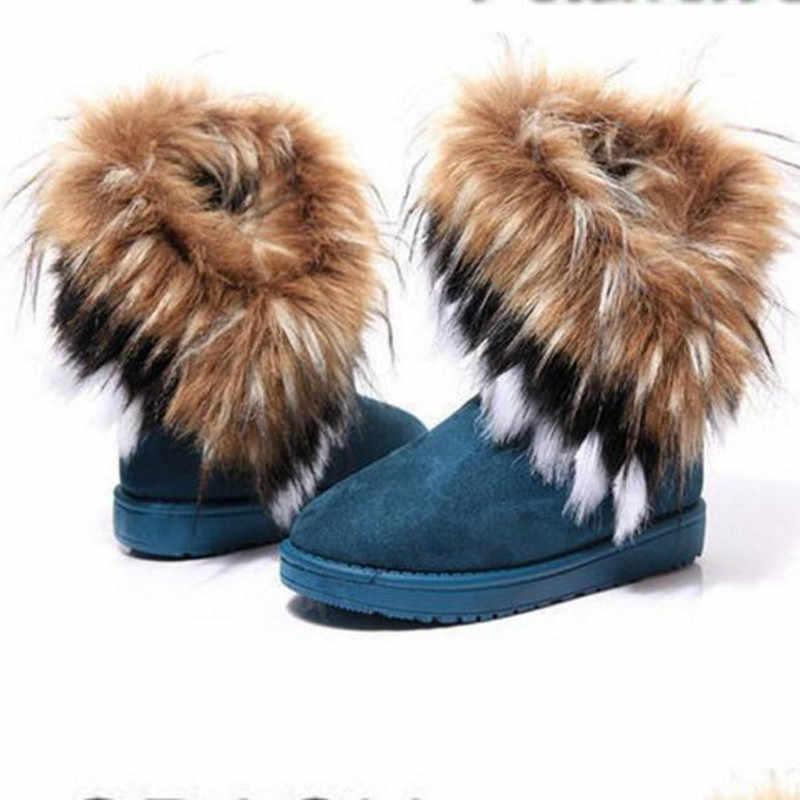 Mode vrouwen Laarzen Winter Nieuwe Snowboots in De Buis imitatie Vos Haar Dames Katoen Laarzen Comfortabel Warm Vrouwen's Laarzen