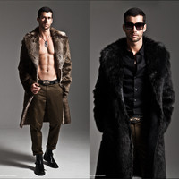 2015 One Piece Faux Fur Long Design Slim Men Leather Clothing Fur Coat Suit Wadded Jacket