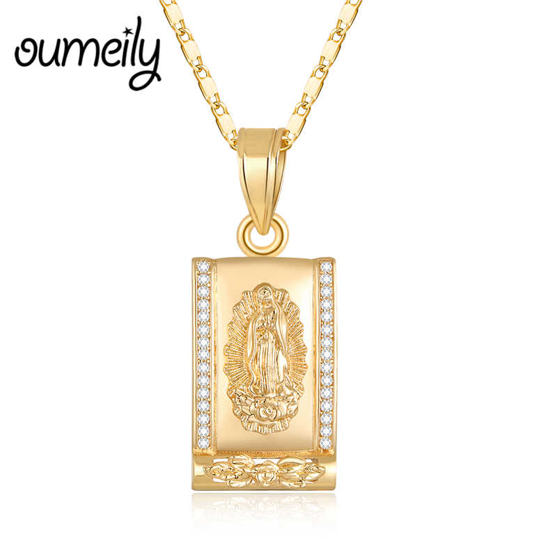 OUMEILY Virgin Mary Necklace Pendants for Men Jewelry Bead Imitation Crystal Statement Necklaces Gold Color Chain Long Necklace