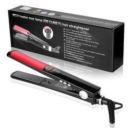Chjpro plana ferro alisador de cabelo placas titânio display lcd alisamento cabelo ferro rápido calor profissional alisadores