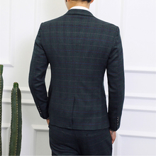Slim Fit Plaid Suit Men Jacket Pants SF