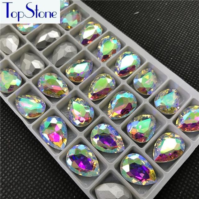 Crystal Clear AB TEARDROP Glass Crystal POINTED BACK Rhinestones 5x8 ... 01dbf5134a07