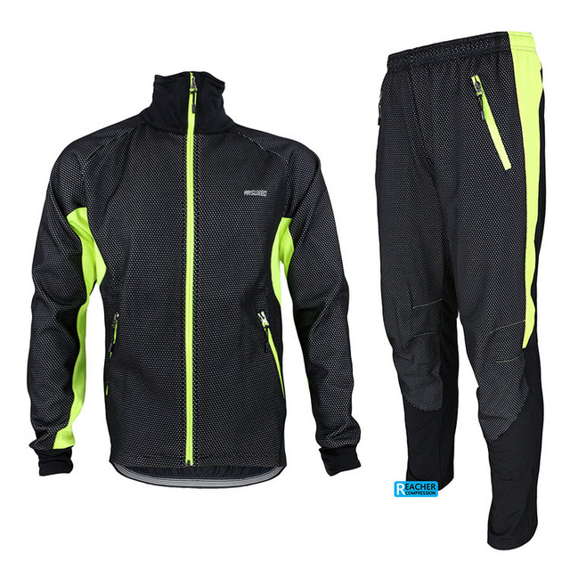 ARSUXEO thermal bicycle jacket and pants set