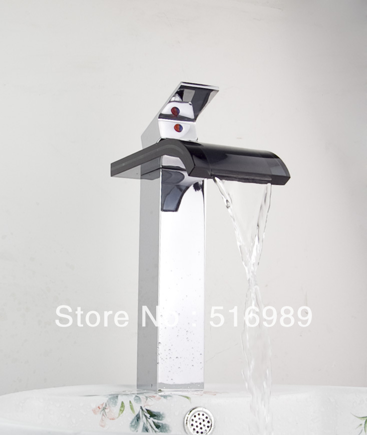 Chrome Finish Single Handle Waterfall Glass Spout Waterfall Bathroom Basin Faucet Single Handle Sink Mixer Tap New tree565.