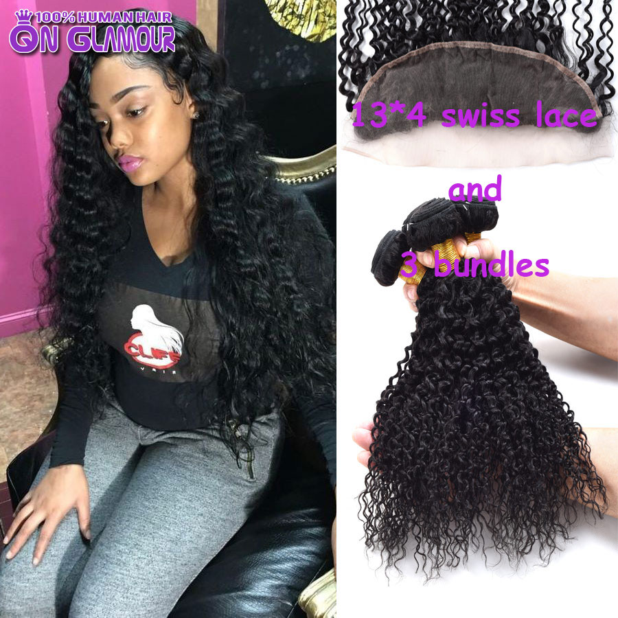 6a Healthy Curly Weave Human Hair Peruvian Virgin Hair With Closure