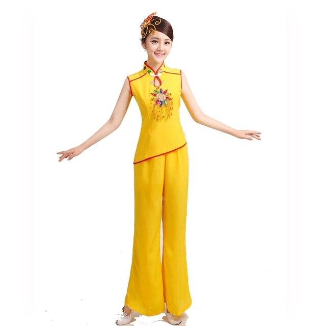 Традиционный китайский танцевальные костюмы китайский Барабан танец с Веером Одежда женская Национальная Танца Кадриль Одежда