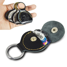 Top Quality Guitar Pick Holder Genuine Leather Guitarra Plectrum Case Bag Keychain Shape Accessories Parts Holders