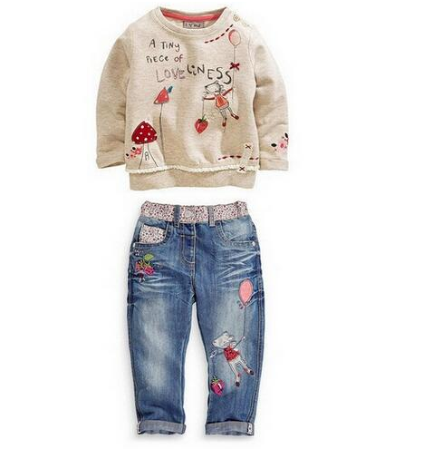 Free Shipping New 2016 children's clothing sets for girls clothing long-sleeved sweater +jeans kids suits retail