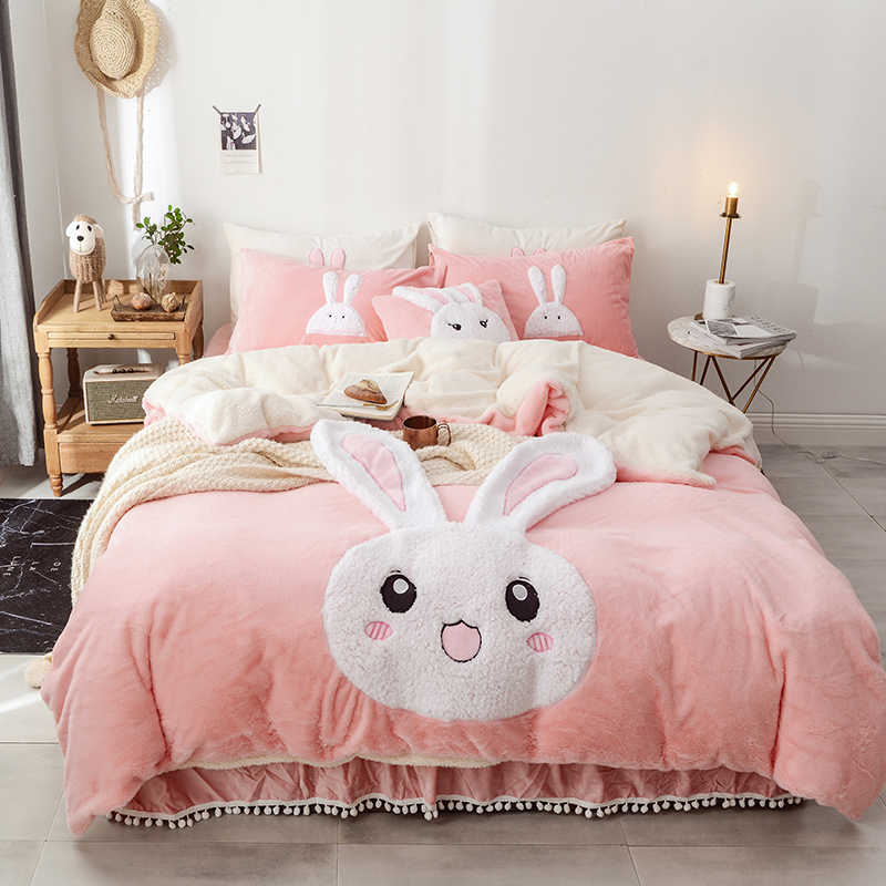 White Blue pink Fleece Bedding set King Queen Twin size 1/4Pcs Bed set Winter Warm Duvet cover Pillow Cover Bed skirt for girls