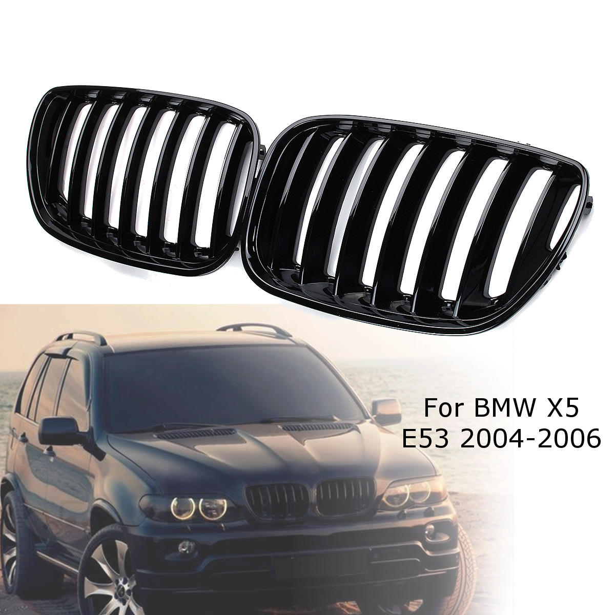 2Pcs Gloss Black Car Front Kidney Grill Grilles Right Left for BMW X5 E53 2004 2005