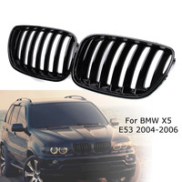 2Pcs Gloss Black Car Front Kidney Grill Grilles Right & Left for BMW X5 E53 2004 2005 2006 ABS 51137124815 51137124816