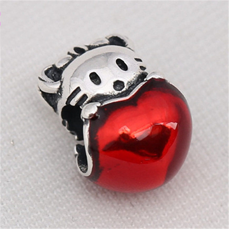 Authentic 925 Sterling Silver Bead Cute Hello Kitty Charm Fit Original Pandora Bracelet Bangle for Women DIY Europe Jewelry Gift