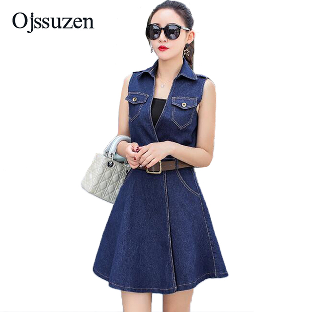 b23425502a Fashion Summer Deep V Neck Jeans Dress Women Denim Dress Above Knee With  Sashes Belt Vestidos Sleeveless Ladies Dress Plus Size